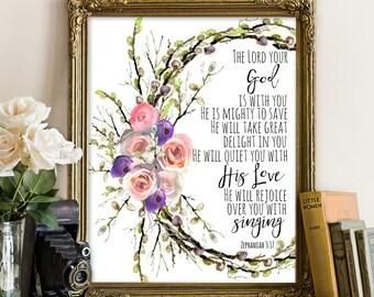 Zephaniah 3:17, Bible printables, bible printable, Bible quote, Bible wall decor, Bible wall art, Motivation quote, floral decor, bible art