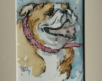 Bulldog art painting dog pet portrait original art an original one off watercolour painting of an English bulldog