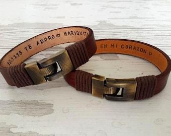 Couples Bracelets Set His Hers ,Personalized Leather Bracelet,2 Pc Set , Hidden Message Bracelet ,  Special Wedding Gift,Anniversary Gift