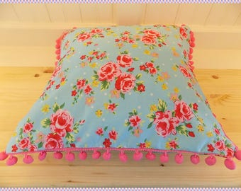 cushion by chookeys blue flower bobble design
