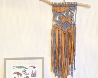 Autumnal macrame 'Rhona'. woven wall hanging / UK / wallart / macrame wall hanging / weave / knot work / boho / bohemian /scandi /retro