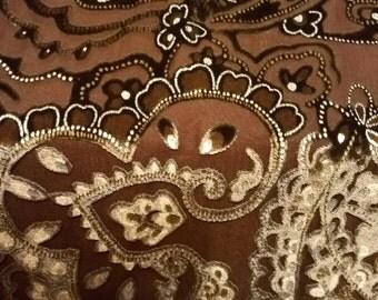 Brown Paisley Velvet Scarf