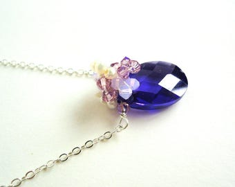 Purple, Cubic Zirconia, Pendant Necklace, Dainty, Lilac, Swarovski Crystals, Fresh Water Pearl, Sterling Silver Necklace, Romantic Necklace