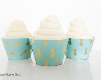 NEW!  Lt Blue/Teal & Gold Pineapple Cupcake Wrappers, Gold Cupcake Wrappers, Pineapple Cupcake Wrappers, Pineapple Party- Set Of 6,12,16,24+