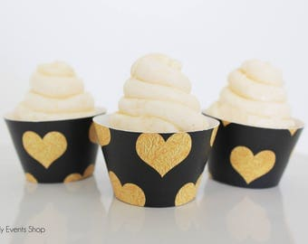 Black & Gold Heart Cupcake Wrappers, Gold Cupcake Wrappers, Black Cupcake Wrappers, Hearts Cupcake Wrappers, Chic-Set of 12