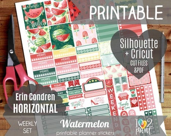 Watermelon Watercolor Weekly Printable Planner Stickers, EC Horizontal Planner Stickers, Weekly ...