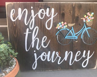 Enjoy the Journey Bicycle Wall Art | Rustic Sign | Bike
