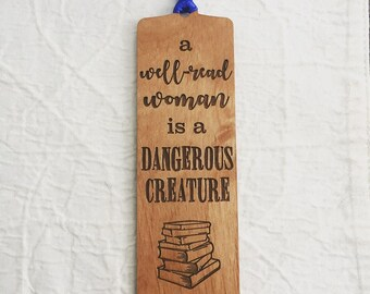 Engraved Quote Bookmark for Reading Lover - Dangerous Creature