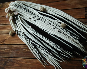 Set of wool double ended dreads DE dreadlocks black white