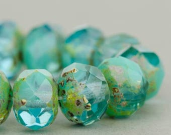 Czech Glass Beads -  Turquoise and Aquamarine Mix Opaque and Transparent with Picasso Finish - Czech Glass Rondelles - 9x6mm - 25 Beads
