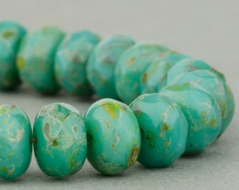 Czech Glass Beads - Czech Glass Rondelles - Turquoise Opaque with Picasso Full Coat - 5x3mm Beads - 30 Beads