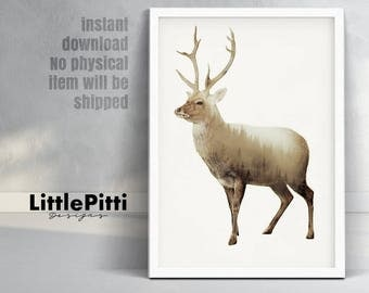 Deer print, double exposure print, deer wall art, woodland animal, scandinavian print, deer silhouette, stag print, deer poster, nordic art