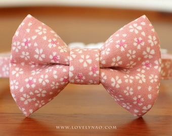 Cherry Blossom Cat Bow Tie Collar – Pink