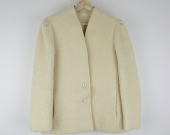 Vintage Wool Jacket / 80s 90s Cream Ivory Puff Shoulder Nordstrom Boiled Wool Fitted Coat / Medium M 10