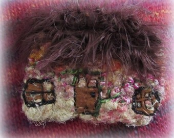 Thatched Cottage Textile Brooch