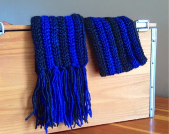 Crochet Scarf, Blue and Black