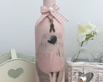 Pink Shabby Chic Ballerina Bottle / Candle holder with Ballet Shoe Charm