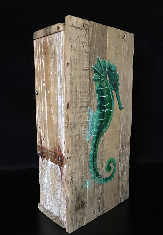 Original Hand Painted Seahorse Wall Art Or Stash Box