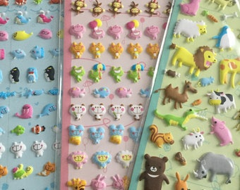 Kawaii animals stitch puffy stickers