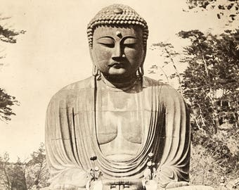 JAPAN.The great Buddha of Kamakura. 1915's. Old print.Black and white. 11,81 ins x 9,45 ins