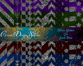 Silver Glitter On Jewel Tones Digital Paper