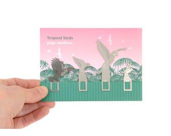 Tropical jungle birds in flight  bookmarks, Toucan, Macaw, Lovebirds, Hummingbirds