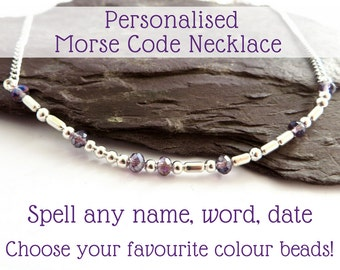 Morse Code necklace, personalised name jewellery, custom name necklace, secret message jewelry, bridal gift, birthday gift for her, crystals