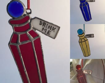 """Alice in Wonderland """"Drink Me"""" bottle in Stained Glass with faceted jewel stopper"""