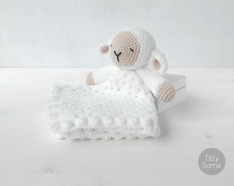 Sleepy Sheep Lovey Pattern | Security Blanket | Crochet Lovey | Lamb Lovey Toy | Blanket Toy | Lovey Blanket PDF Crochet Pattern