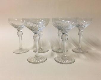 Beautitul 1920s cut crystal champagne glasses
