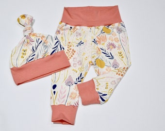Baby Girl Outfit Morning Walk Mojave Aloe/Soft Peach cuff and waistband, Take home outfit, Baby Gift