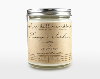 Unique Personalized Wedding Favor, Wedding gift, Wedding Favor Candle, Wedding Gift, Engagement, Anniversary present, Gifts for couples