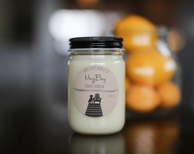 Hazy Bay Lemon Verbena Handmade Soy Candle: Lake Life Candle Co. Made in WI