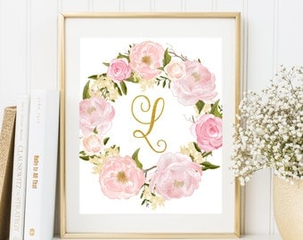 Nursery Monogram L Letter Nursery floral decor Gold letter print Printable Art Nursery Letters Initial calligraphy monogram Floral wreath