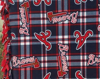 READY TO SHIP Atlanta Braves Knotted Fleece Throw With Antipill Backing