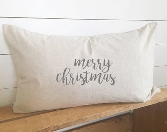 Merry Christmas Kidney Pillow Cover 16 x 26 // Christmas / Christmas Pillow / Holiday / Throw Pillow / Accent pillow / Gift