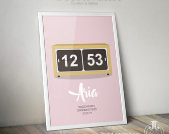 """Poster birthday gift • clock """"Time of birth"""" to customize."""