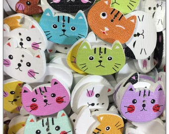 "15 or 30 Cat buttons, wood buttons novelty buttons scrapbooking sewing crafts, 20 mm 3/4"" assorted colors painted face buttons wooden kitten"