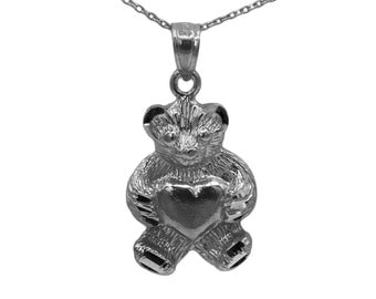 925 Black Sterling Silver Teddy Bear Necklace