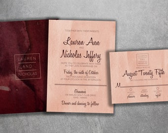 Elegant Wedding Invitations Set Printed, Classy Wedding Invitation, Double Sided Wedding Invitations, Modern, Watercolor