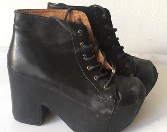 Vintage black leather boots , women's size  7 1/2 - 8.