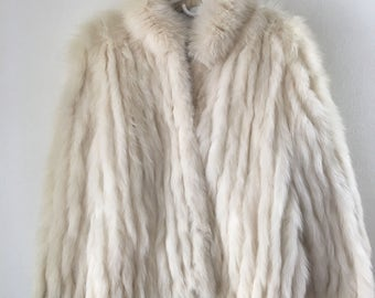Rich Short Vintage White Genuine Polar Fox Fur Coat Women's Size Medium.