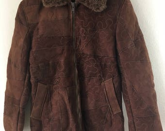 Elegant Mid Length Vintage Brown Genuine Sheepskin Suede Coat Women's Size Medium Large.