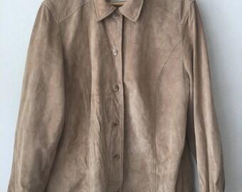 Nice Short Vintage Beige Genuine Suede Shirt Men's Size Medium.