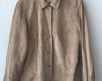 Beige light suede man shirt without lining size medium .