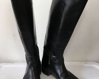 Vintage police heavy leather boots man size 12 US.