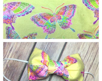 Yellow Flannel Glitter Butterfly bow