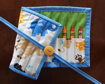 Animal Crayon Holder, Zoofari Crayon Roll Up, Blue Crayon Roll Up, Crayon Tote, Animal Crayon Tote, Monkey, Hippo, Animals, Gender Neutral