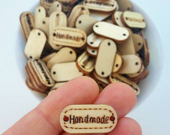 Botones de madera natural Handmade 20mm-Etiquetas Handmade de madera-Natural wooden buttons-handmade labels and tags-Wooden supplies