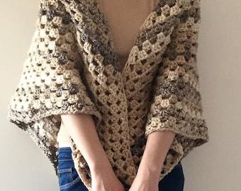 Hand Crocheted Triangular Shawl, Crocheted Shawlette, Spring Wrapper, Boho Shawl, Large Shawl, South Bay Shawlette, Country Style